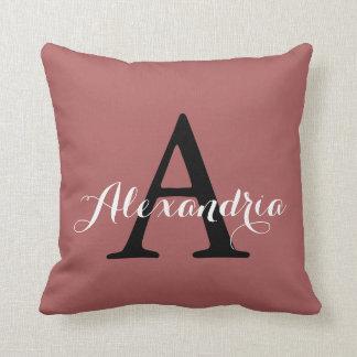 Monograma morno da cor sólida do rosa cor-de-rosa almofada