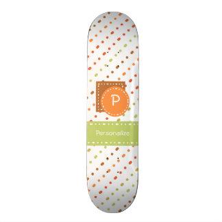 Monograma na moda listras pontilhadas com nome shape de skate 21,6cm