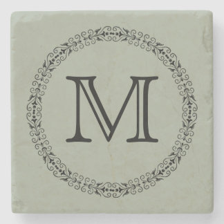 Monograma na moda verde cinzento prudente da cor porta-copos de pedra