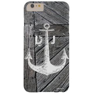 Monograma náutico da âncora de madeira rústica do capas iPhone 6 plus barely there