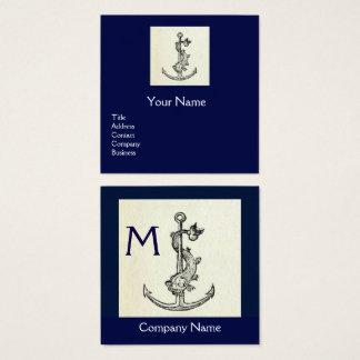 Monograma NÁUTICO dos azuis marinhos ANTIGOS da Cartão De Visitas Quadrado