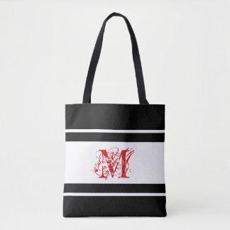 Monograma no vermelho pela sacola de JoMazArt Bolsa Tote