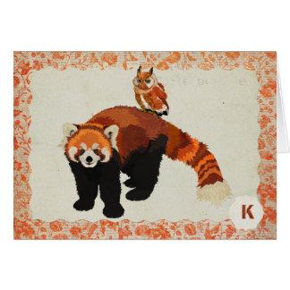 Monograma Notecard da panda vermelha & da coruja Cartão De Nota