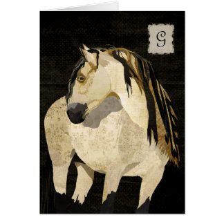 Monograma Notecard do cavalo branco Cartao