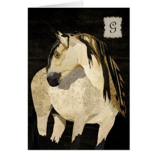 Monograma Notecard do cavalo branco Cartão De Nota