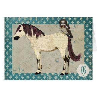 Monograma Notecard do cavalo branco & da coruja Cartão De Nota