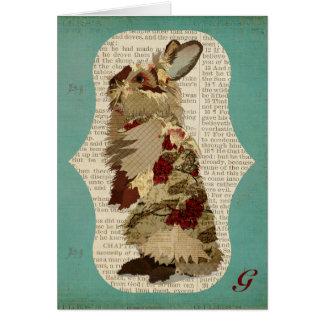Monograma Notecard do coelho do angora Cartão De Nota