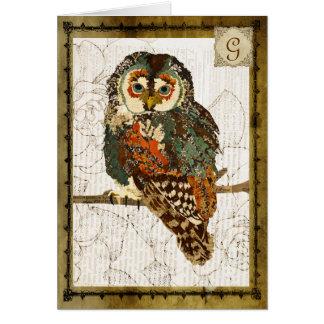 Monograma Notecard do vintage da coruja da cerceta Cartão De Nota
