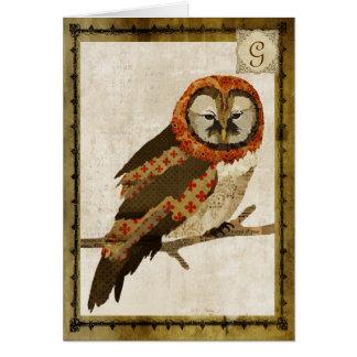 Monograma Notecard do vintage da coruja das mães Cartão De Nota