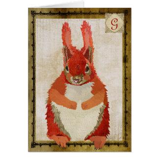 Monograma Notecard do vintage do esquilo vermelho Cartões