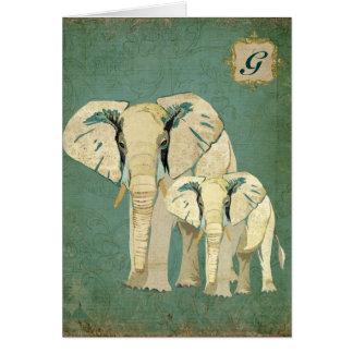 Monograma Notecard dos elefantes brancos Cartões