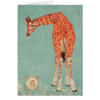Monograma ornamentado ambarino Notecard do girafa Cartão De Nota