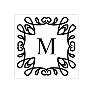 Monograma ornamentado quadrado carimbo de borracha
