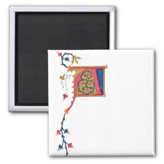 Monograma ornamentado um azul vermelho do ouro do  ímã quadrado