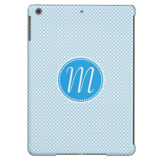 Monograma Pastel azul à moda da estrutura Capa Para iPad Air