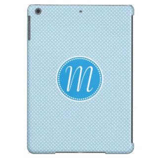 Monograma Pastel azul à moda das bolinhas Capa Para iPad Air