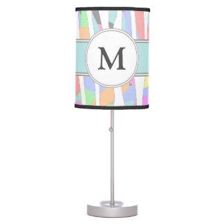Monograma Pastel do costume do impressão da zebra Luminária