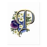 Monograma pintado à mão da inicial do amor perfeit cartao postal