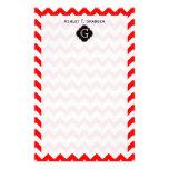 Monograma preto branco vermelho brilhante de Chevr Papelaria Personalizada