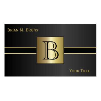 Monograma preto clássico executivo cartão de visita