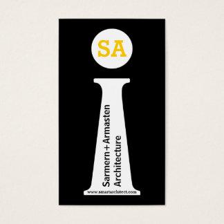 Monograma preto do arquiteto, branco, amarelo cartão de visitas