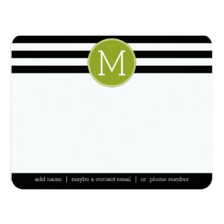 Monograma preto e branco do verde do teste padrão convite 10.79 x 13.97cm