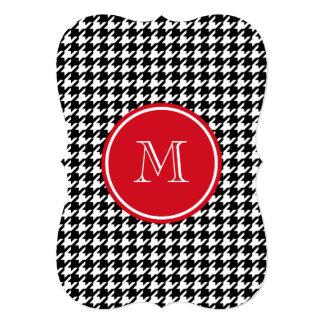 Monograma preto e branco do vermelho de convite personalizado