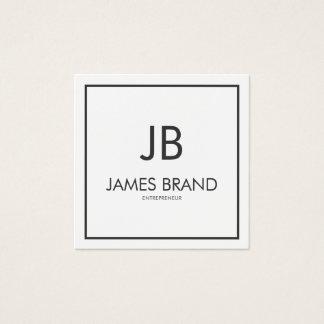 Monograma preto e branco minimalista quadrado cartão de visitas quadrado