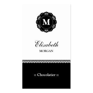 Monograma preto elegante do laço de Chocolatier Cartão De Visita