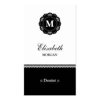 Monograma preto elegante do laço do dentista cartão de visita