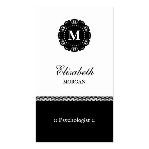 Monograma preto elegante do laço do psicólogo modelo cartões de visita