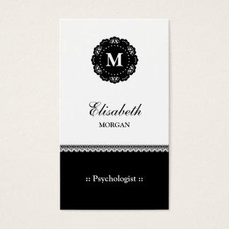 Monograma preto elegante do laço do psicólogo cartão de visitas