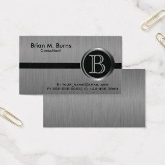 Monograma preto executivo do aço da escova cartão de visitas