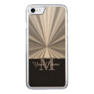 Monograma preto metálico do falso de prata capa iPhone 7 carved