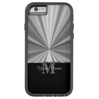 Monograma preto metálico do falso de prata capa tough xtreme para iPhone 6