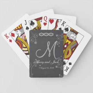Monograma preto rústico do quadro 3d do giz jogo de carta