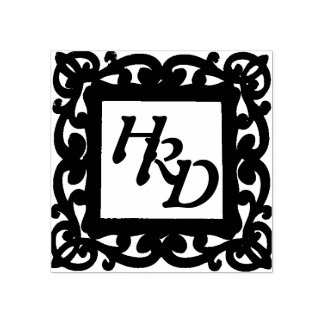 Monograma quadrado do quadro carimbo de borracha