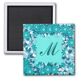 Monograma quadro com flores - azul e branco imã