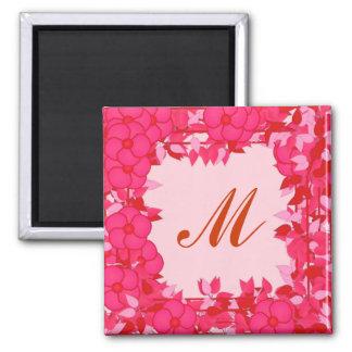 Monograma quadro com flores - fúcsia e rosa imã de geladeira