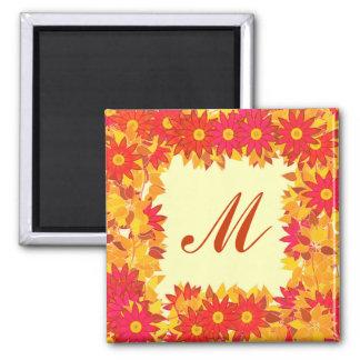 Monograma quadro com flores - vermelho e ouro imãs