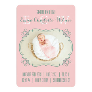 Monograma recém-nascido da foto do bebê do anúncio convite 12.7 x 17.78cm