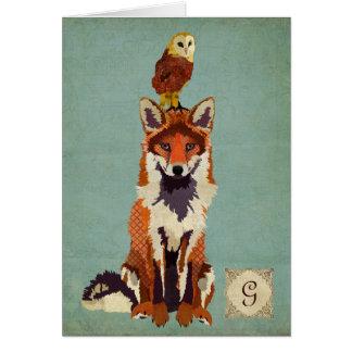 Monograma retro Notecard do Fox & da coruja
