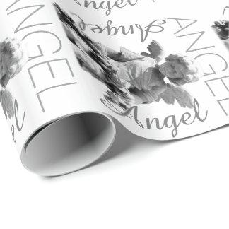 Monograma retro preto e branco do anjo-da-guarda papel de presente