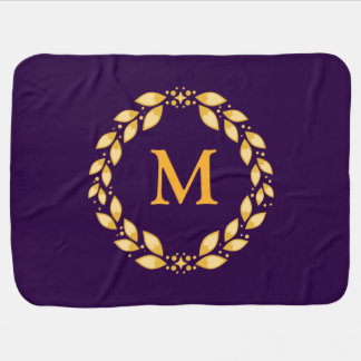 Monograma romano com folhas dourado ornamentado da cobertorzinhos para bebe