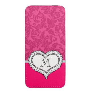 Monograma romântico do coração do damasco bonito bolsinha para celular