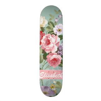 Monograma rosa vermelha feminino elegante dos rosa shape de skate 21,6cm
