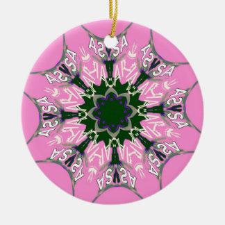 Monograma roxo bonito de do motivo da máscara do ornamento de cerâmica redondo