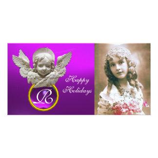 Monograma roxo da gema do ANJO FLORENTINO do Cartão Com Foto