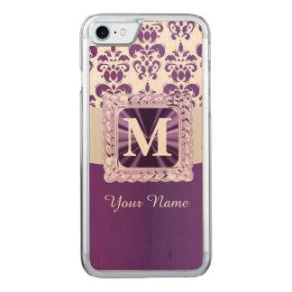 Monograma roxo e branco do damasco capa iPhone 7 carved