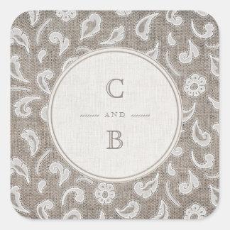Monograma rústico do casamento do país do laço e adesivo quadrado